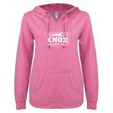ENZA Ladies Hot Pink V Notch Raw Edge Fleece Hoodie-Prairie Fire Logo