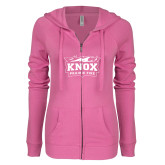 ENZA Ladies Hot Pink Light Weight Fleece Full Zip Hoodie-Prairie Fire Logo