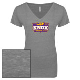 ENZA Ladies Graphite Melange V Neck Tee-Prairie Fire Logo