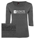 Ladies Charcoal Heather Tri Blend Lace 3/4 Sleeve Tee-Institutional Logo