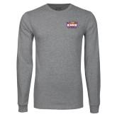 Grey Long Sleeve T Shirt-Prairie Fire Logo
