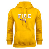 Gold Fleece Hood-Praire Fire Mascot Logo