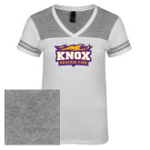 Ladies White/Heathered Nickel Juniors Varsity V Neck Tee-Prairie Fire Logo