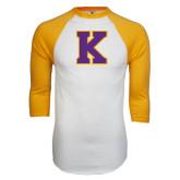 White/Gold Raglan Baseball T-Shirt-K