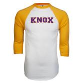 White/Gold Raglan Baseball T-Shirt-Knox