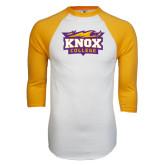 White/Gold Raglan Baseball T-Shirt-Knox College Logo