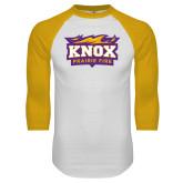 White/Gold Raglan Baseball T Shirt-Prairie Fire Logo