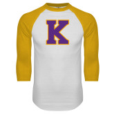 White/Gold Raglan Baseball T Shirt-K