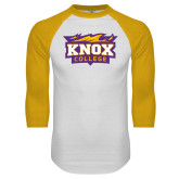 White/Gold Raglan Baseball T Shirt-Knox College Logo