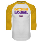 White/Gold Raglan Baseball T Shirt-Knox College Baseball Stacked