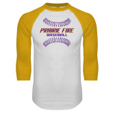 White/Gold Raglan Baseball T Shirt-Prairie Fire Baseball w/Seams