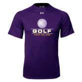 Under Armour Purple Tech Tee-Knox College Golf Stacked w/Ball