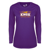 Ladies Syntrel Performance Purple Longsleeve Shirt-Prairie Fire Logo