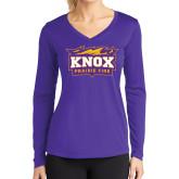 Ladies Syntrel Performance Purple Longsleeve Shirt-Prairie Fire Logo