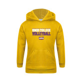 Youth Gold Fleece Hoodie-Knox College Volleyball Stacked