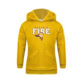 Youth Gold Fleece Hood-Praire Fire Mascot Logo