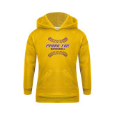 Youth Gold Fleece Hoodie-Prairie Fire Baseball w/Seams