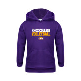 Youth Purple Fleece Hoodie-Knox College Volleyball Stacked