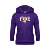 Youth Purple Fleece Hood-Praire Fire Mascot Logo