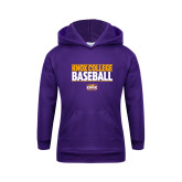 Youth Purple Fleece Hoodie-Knox College Baseball Stacked