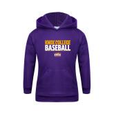 Youth Purple Fleece Hoodie-Knox College Baseball Stacked