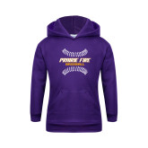 Youth Purple Fleece Hoodie-Prairie Fire Baseball w/Seams