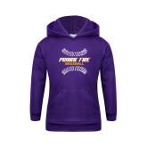 Youth Purple Fleece Hoodie-Prairie Fire Baseball w/Seams