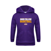 Youth Purple Fleece Hoodie-Knox College Basketball Stacked
