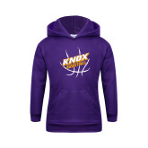 Youth Purple Fleece Hoodie-Knox Basketball w/Ball