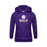 Youth Purple Fleece Hoodie-Knox College Golf Stacked w/Ball