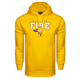 Under Armour Gold Performance Sweats Team Hood-Praire Fire Mascot Logo