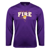 Syntrel Performance Purple Longsleeve Shirt-Praire Fire Mascot Logo