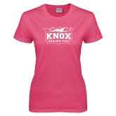 Ladies Fuchsia T Shirt-Prairie Fire Logo