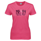 Ladies Fuchsia T Shirt-Prairie Fire Logo Foil