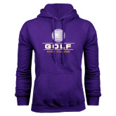 Purple Fleece Hood-Knox College Golf Stacked w/Ball