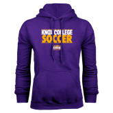 Purple Fleece Hood-Knox College Soccer Stacked
