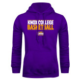 Purple Fleece Hoodie-Knox College Basketball Stacked