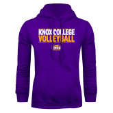 Purple Fleece Hoodie-Knox College Volleyball Stacked