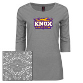 Ladies Grey Heather Tri Blend Lace 3/4 Sleeve Tee-Prairie Fire Logo