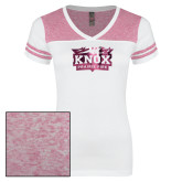 Ladies White/Bright Pink Juniors Varsity V Neck Tee-Prairie Fire Logo Foil