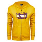 ENZA Ladies Gold Fleece Full Zip Hoodie-Knox College Logo