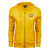 ENZA Ladies Gold Fleece Full Zip Hoodie-Prairie Fire Logo