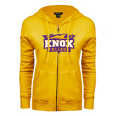 ENZA Ladies Gold Fleece Full Zip Hoodie-Knox College Logo