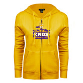 ENZA Ladies Gold Fleece Full Zip Hoodie-Knox Mascot Logo