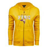 ENZA Ladies Gold Fleece Full Zip Hoodie-Praire Fire Mascot Logo