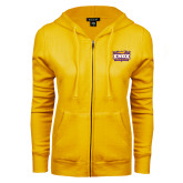 ENZA Ladies Gold Fleece Full Zip Hoodie-Prairie Fire Logo
