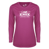 Ladies Syntrel Performance Raspberry Longsleeve Shirt-Prairie Fire Logo
