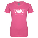 Ladies SoftStyle Junior Fitted Fuchsia Tee-Prairie Fire Logo