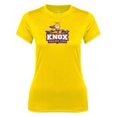 Ladies Syntrel Performance Gold Tee-Knox Mascot Logo