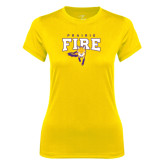 Ladies Syntrel Performance Gold Tee-Praire Fire Mascot Logo